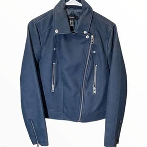 Forever XXI navy motorcycle jacket faux leather L